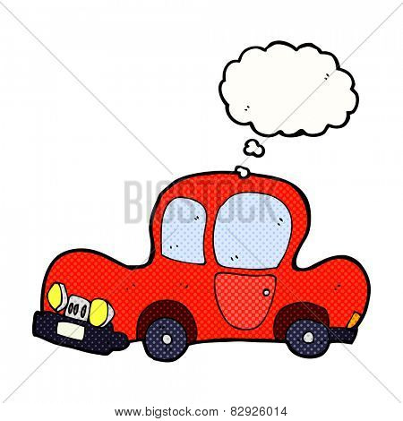 cartoon car with thought bubble