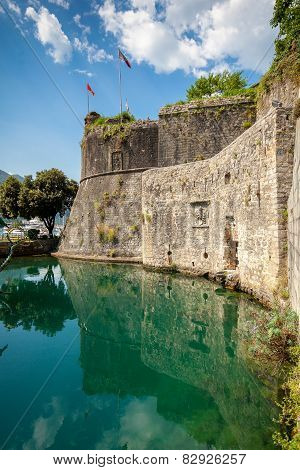 Castle Wall At Ditch Of Kotor, Montenegro