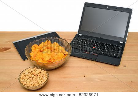 Open Notebook With Unhealthy Snack Isolated On White Background