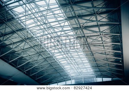 Big Metal Roof With Panoramic Windows At Airport Terminal