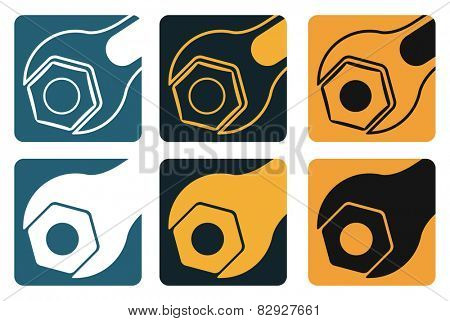 Set of vector tools, wrench and screw nut, industrial style