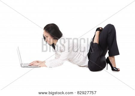 Young Office Woman Lying In Yoga Pose With Laptop, On White Background
