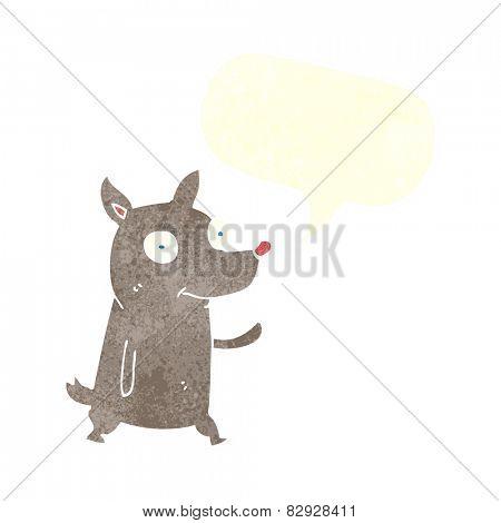 cartoon little dog waving with speech bubble