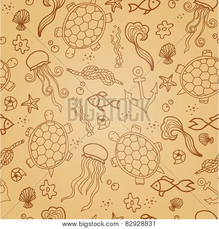 Seamless pattern with sea creatures