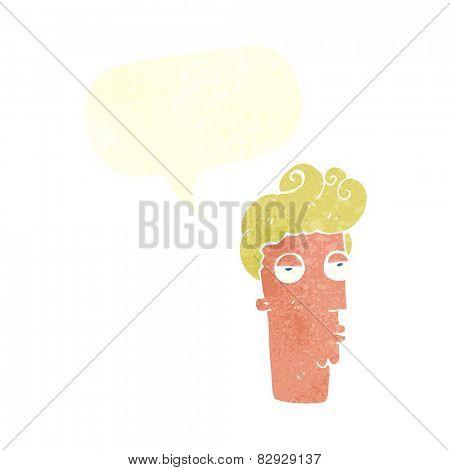 cartoon bored man's face with speech bubble