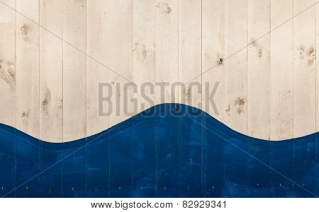 White Wooden Boards Painted With Blue And Form A Wave Shape