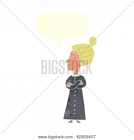 cartoon strict victorian teacher with speech bubble