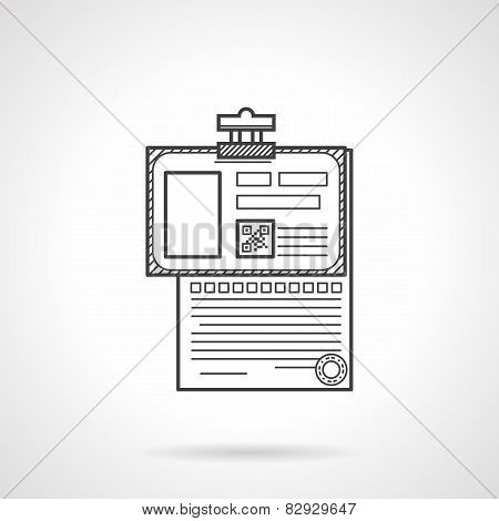 Black line vector icon for analysis paper