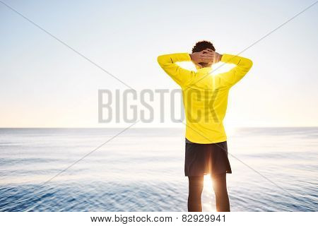 Happy People - Free Man Enjoying Nature Sunrise Freedom And Serenity Concept With Male Model