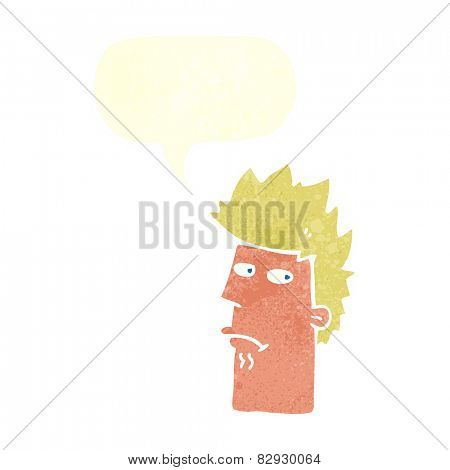 cartoon nervous expression with speech bubble