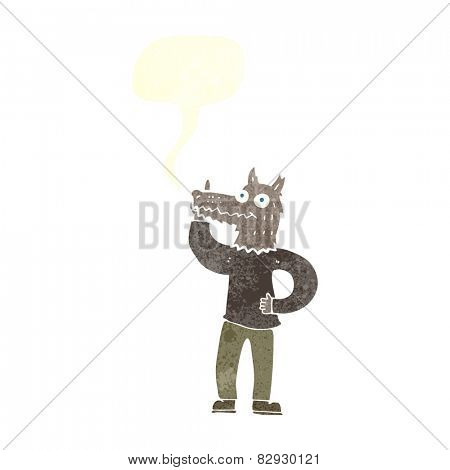 cartoon werewolf with idea with speech bubble