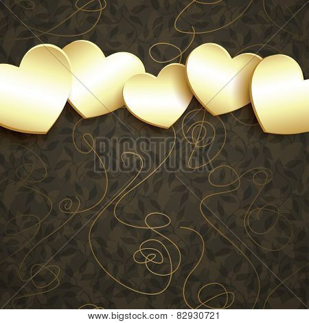 Abstract vector design with golden hearts