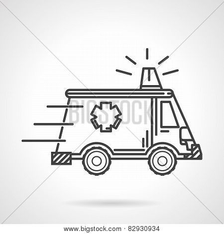Black vector icon for ambulance car