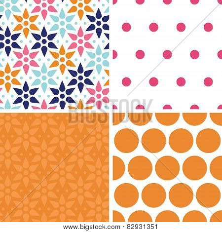 Vector abstract colorful stars set of four marching repeat patterns backgrounds