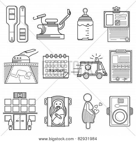 Black icons vector collection for gynecology