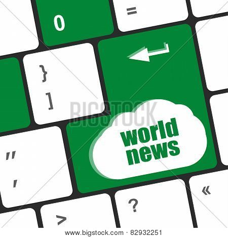Words World News On Computer Keyboard Key