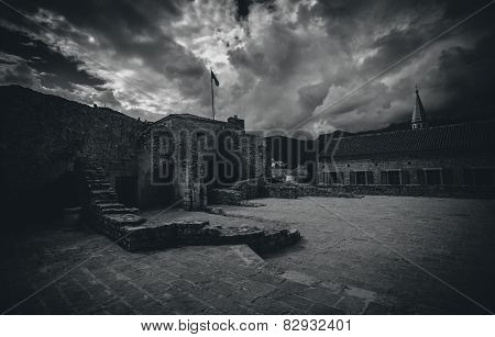 Black And White Photo Of Old Castle At Cloudy Day