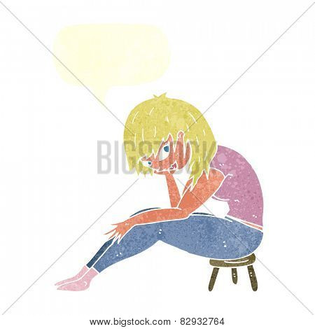 cartoon woman sitting on small stool with speech bubble