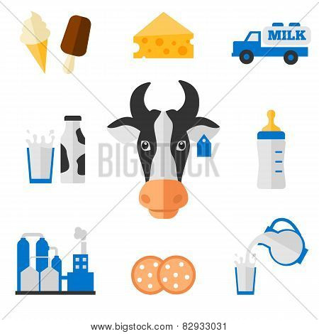 Dairy icons set - flat style.