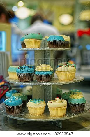 Assorted Cupcakes On The Bakery Storefront