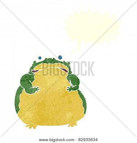 cartoon fat toad with speech bubble