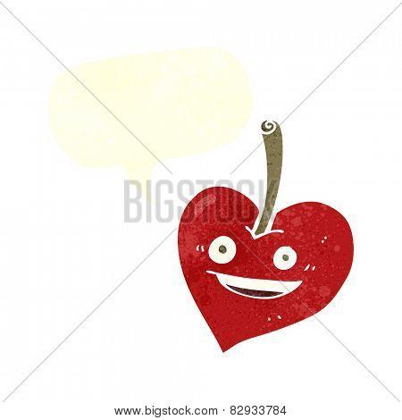 cartoon love heart apple with speech bubble