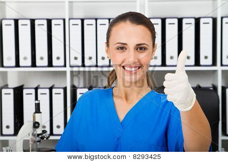 medical researcher thumbs up