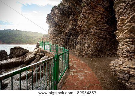 Walkway In High Cliffs At Seaside
