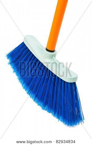 blue brush the floor on a white background