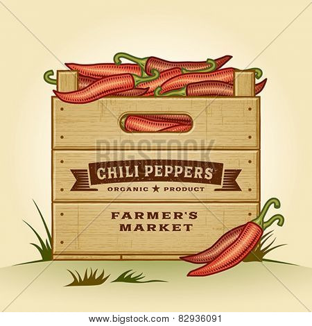 Retro crate of chili peppers. Editable EPS10 vector illustration with clipping mask and transparency.