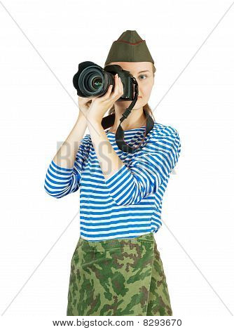 Photographer Girl In Military Clothes