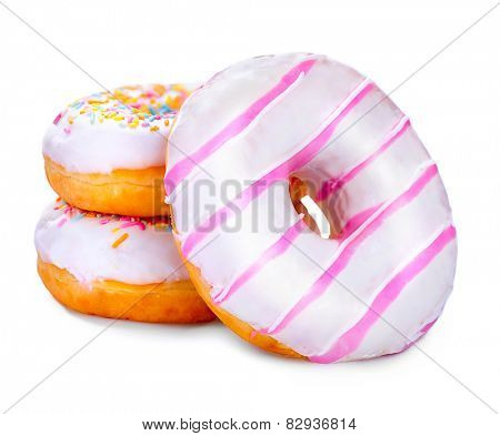 Donuts isolated on white background. Tasty glazed donuts closeup. Doughnut