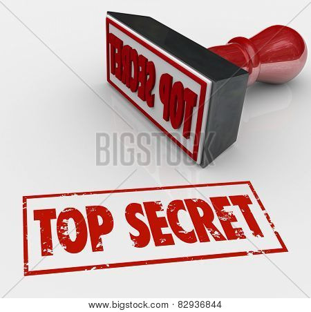Top Secret words stamped in red ink to restrict access to confidential, sensitive or classified communication