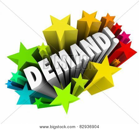 Demand word in colorful stars to illustrate rising, increasing or improving market response to your products or services
