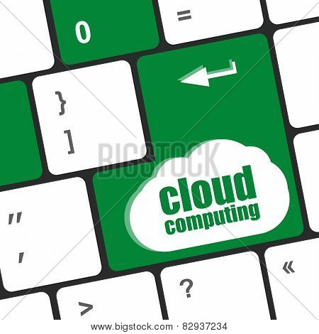 Computer Keyboard For Cloud Computing, Business Concept