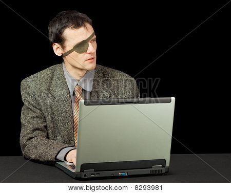 Man - Computer Pirate With Laptop