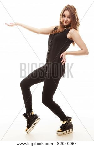 Teen Girl Showing Open Hand With Copy Space
