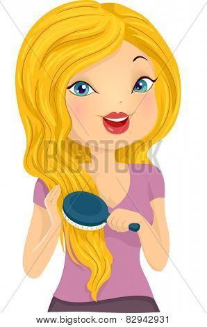 Illustration of a Girl Brushing Her Long Blonde Hair