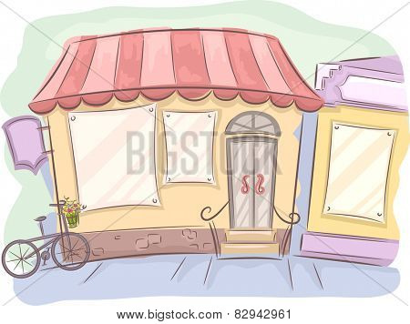 Doodly Illustration of the Facade of a Shop With a Bike Parked in Front