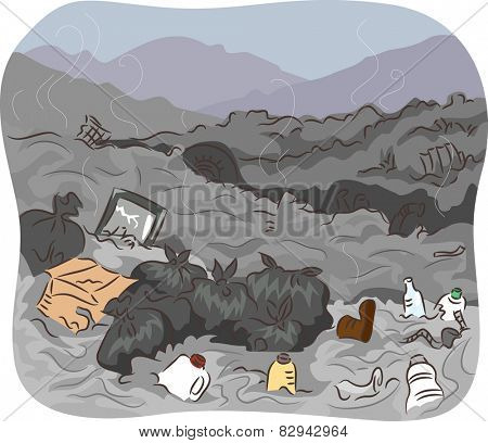Illustration of a Dump Site Filled With Unsorted Trash