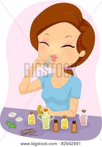 Illustration of a Girl Smelling a Bottle of Essential Oil