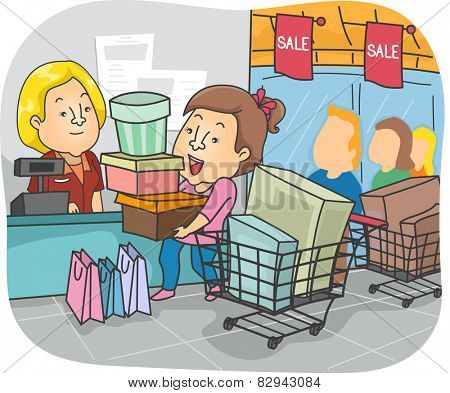 Illustration of a Girl Taking Advantage of a Sale to Go on a Shopping Spree