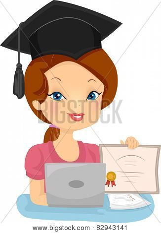 Illustration of a Female Distance Education Graduate Showing Her Diploma