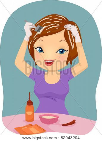 Illustration of a Girl Applying Dye on Her Hair