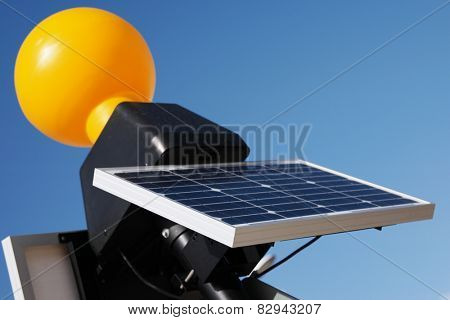 Close up Modern Solar Panel Technology, Acquiring Energy from the Sun, with Blue Sky Background