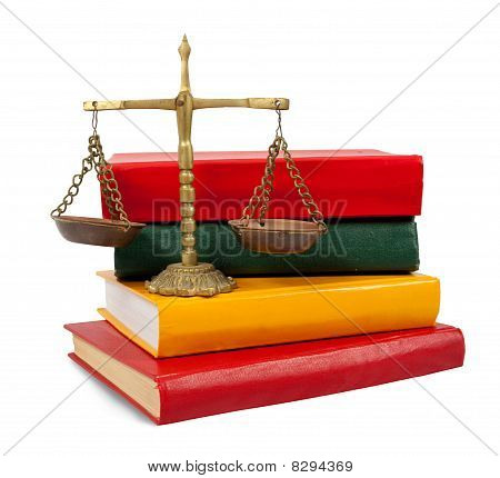 Justice Concept, Book And Scales Of Justice