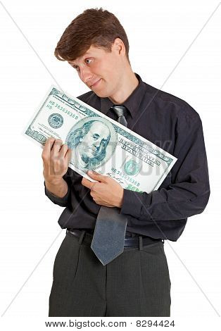 Businessman Is Nursed With Money On White