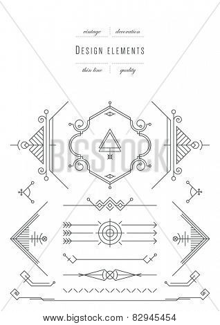 Vintage set - calligraphic design elements, thin line ( variable line width )