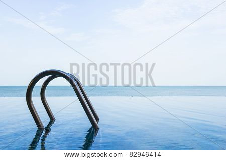 Sea View Of Infinity Swimming Pool With Sky
