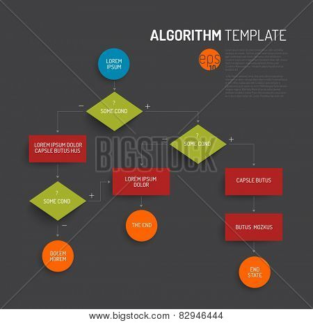 Abstract algorithm vector template with flat design - dark version